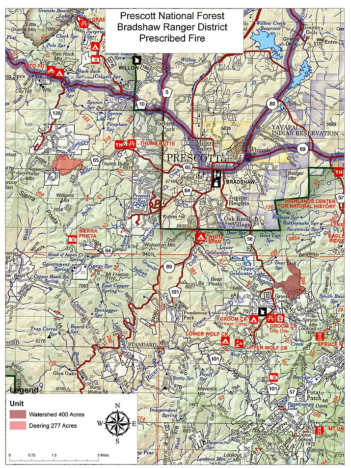 A map showing where the Watershed and Deering prescribed burn areas are located. One of the two will be burned Nov. 13-15, 2019. (Prescott National Forest/Courtesy)