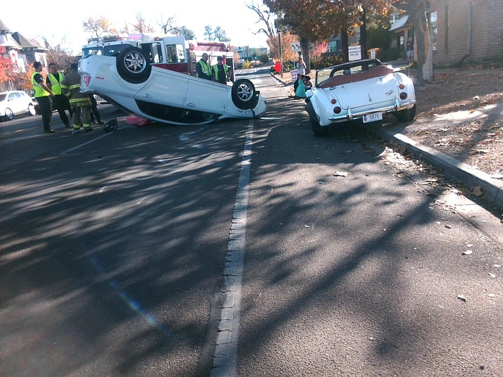 First responders assist with a vehicle rollover on Grove Ave. Thursday afternoon, Nov. 7, 2019. (Prescott Police Department/Courtesy)