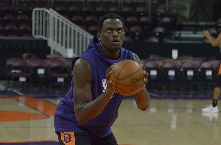 Northern Arizona Suns center Norense Odiase shoots a free throw at practice Wednesday, Nov. 6, 2019, at the Findlay Toyota Center in Prescott Valley. (Brian M. Bergner Jr./Courier)