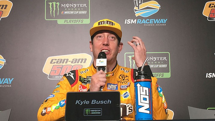 Kyle Busch is third in the standings entering Sunday's race at ISM Raceway. Busch won the pole Saturday and all eight title contenders qualified in the top 10 for the final race to decide the championship field. (Daily Miner file photo)