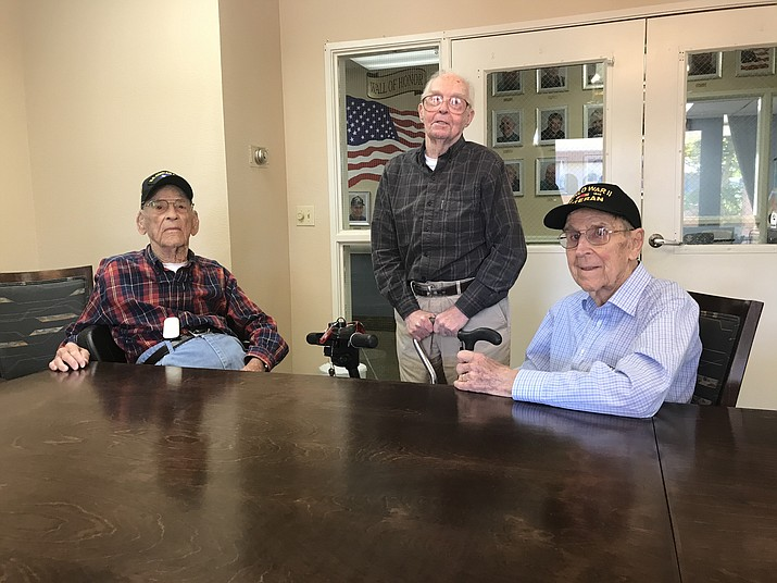 """Robert """"Bob"""" Quin, left, Howard Kleinz and Don Brandt are World War II veterans who live at Cottonwood Village assisted care facility. All three shared with the Verde Independent some of the experiences that helped shaped who they became. VVN/Jason W. Brooks"""