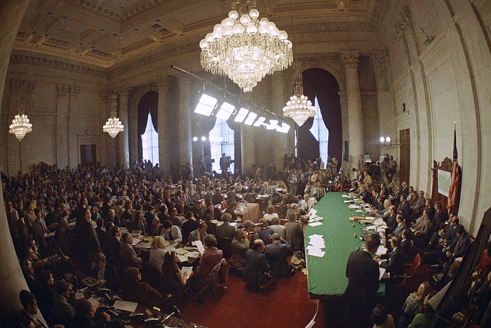 """In this May 18, 1973, file photo, the hearing of the Senate select committee on the Watergate case on Capitol Hill in Washington. In 1973, millions of Americans tuned in to what Variety called """"the hottest daytime soap opera"""" _ the Senate Watergate hearings that eventually led to President Richard Nixon's resignation. For multiple reasons, notably a transformed media landscape, there's unlikely to be a similar communal experience when the House impeachment inquiry targeting Donald Trump goes on national television starting Nov. 13, 2019. (AP Photo)"""