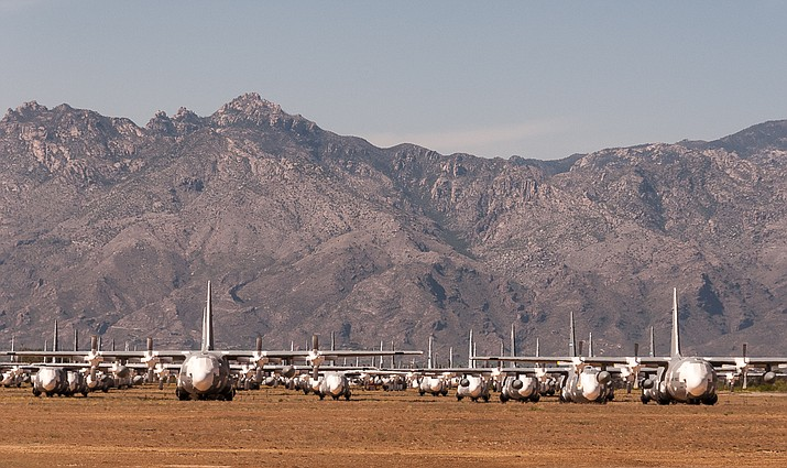 The government's aircraft boneyard is shown near Tucson. (Photo by StellarD, cc-by-sa-2.0, https://bit.ly/2K8tmdl)