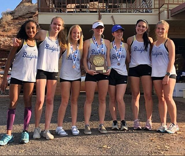 The Prescott girls cross-country team poses for a photo after taking first place at the sectional meet on Friday, November 7, 2019, at Hidden Cove Golf Course in Holbrook. (Cylinda Bray/Courtesy)