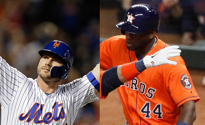 The Mets' Pete Alonso, left, was named National League Rookie of the Year Tuesday and Yordan Álvarez of the Houston Astros took American League Rookie of the Year honors in voting by the Baseball Writers Association of America (AP Photos
