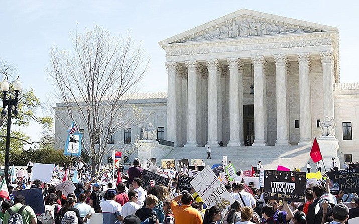 The fight over deferred deportation was at the Supreme Court in 2016, shown here, when it refused to allow an expansion of DACA to include parents. On Tuesday, the high court will consider whether the Trump administration has the authority to end the Deferred Action of Childhood Arrivals program entirely. (Photo by Madison Alder/Cronkite News)
