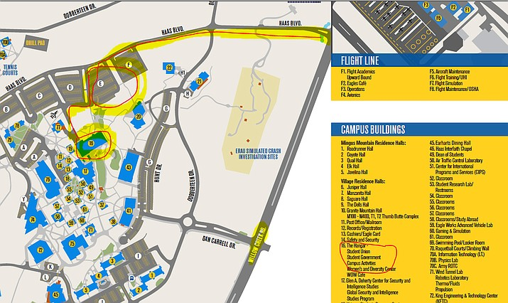 This map indicates where the Hangar Room is located on Embry-Riddle Aeronautical University's campus. (ERAU/Courtesy)