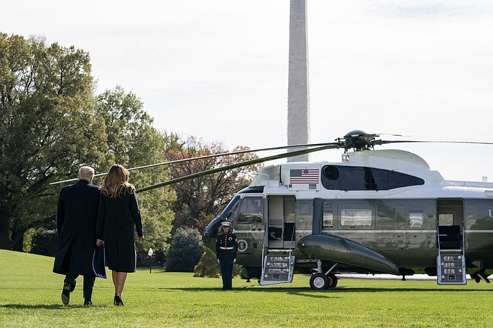 President Donald Trump, shown walking to Marine One on Saturday on the south lawn of the White House, spoke at the opening ceremony of the Veterans Day parade in New York City on Monday, Nov. 11. (White House photo)