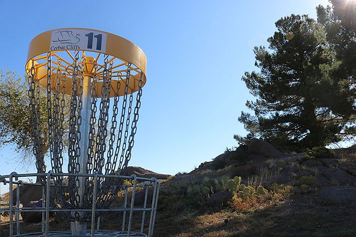 Those heading to Cerbat Cliffs to take advantage of the new disc golf course can play either nine or 18 holes in about half the time it would take to play a round of golf. (Photo by Travis Rains/Daily Miner)