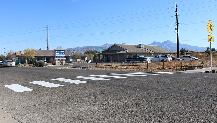 Kingman Regional Medical Center is working with the City of Kingman to install a new pedestrian crosswalk on Beverly Avenue. (Photo by Travis Rains/Kingman Daily Miner)