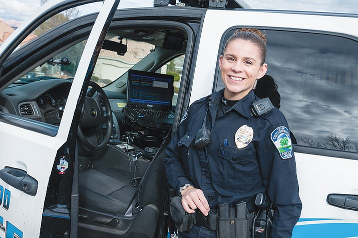 In her CW7 neighborhood patrol emphasis, Cottonwood Officer Kiedi Dever already has held Block Watch meetings with some of the citizens in her designated neighborhood and has further made herself known to residents through the department's Safe Shopper Program. Photo courtesy Cottonwood PD.