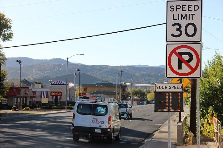 A radar speed sign is seen on Miller Valley Road in Prescott. (Max Efrein/Courier)
