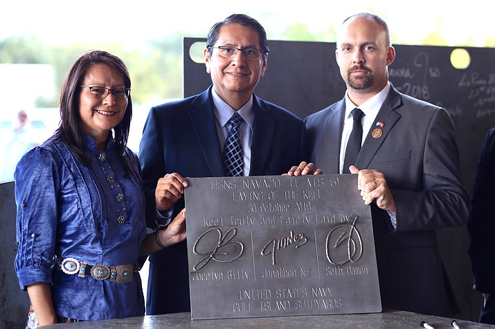 Navajo Nation President Jonathan Nez, First Lady Phefelia Nez, and Navajo Veterans Administration Acting Director James Zwierlein at the U.S. Navy Authentication of the Keel Ceremony of the USNS Navajo (T-ATS 6) Oct. 30 in Houma, Louisiana. (Photo/Office of the President)