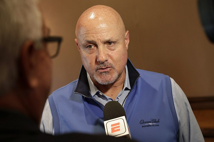 Washington Nationals general manager Mike Rizzo speaks during a media availability during the Major League Baseball general managers annual meetings Tuesday, Nov. 12, 2019, in Scottsdale. (Matt York/AP)