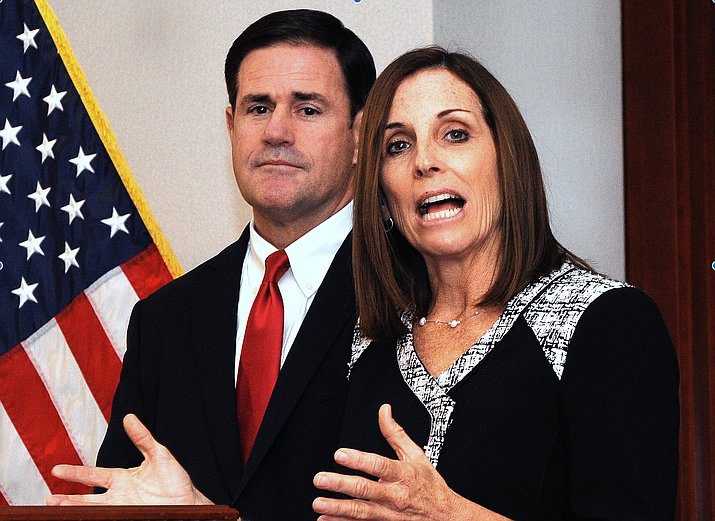 Martha McSally in December after being tapped by Gov. Doug Ducey to serve through 2020 in the Senate seat formerly occupied by John McCain. Federal appellate judges heard arguments Wednesday whether Ducey exceeded his authority. (Capitol Media Services 2018 file photo by Howard Fischer)