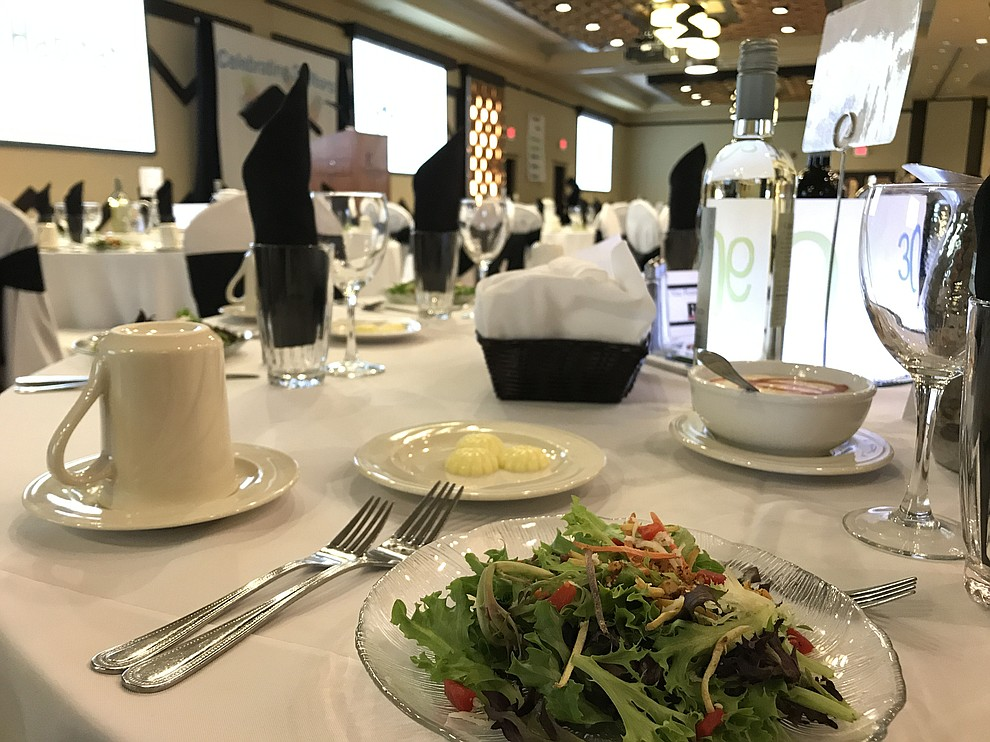 An elegant dinner setup at the annual Prescott Area Habitat for Humanity Toolbelts & Tuxedos Gala on Saturday, Nov. 9, 2019, in Prescott. (Brian M. Bergner Jr./Courier)