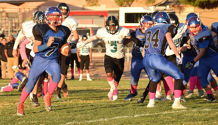 Camp Verde sophomore Jacob Oothoudt runs for a touchdown during the Cowboys' 46-16 win over St. John Paul II on Oct. 29. VVN/James Kelley