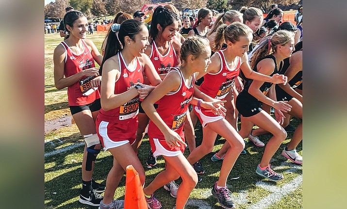 Mingus Union girls cross country starts the race at sectionals last week. The Marauders finished  sixth and qualified for the state meet this Saturday. VVN/Dan Engler