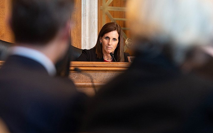 U.S. Sen. Martha McSally (R-Ariz.) listens to witnesses testifying to Senate Indian Affairs Committee about challenges of getting broadband wireless access in tribal areas. (Photo by Harrison Mantas/Cronkite News)