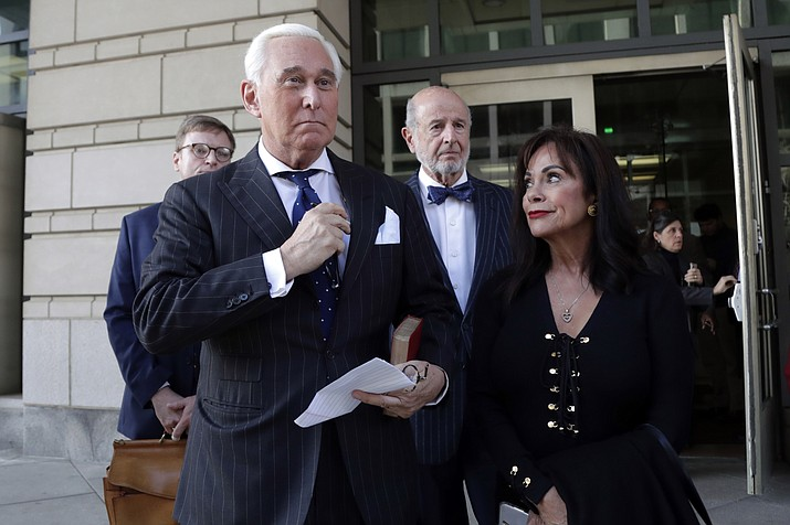 Roger Stone, left, with his wife Nydia Stone, leaves federal court in Washington, Friday, Nov. 15, 2019. Stone, a longtime friend of President Donald Trump, has been found guilty at his trial in federal court in Washington. (Julio Cortez/AP)