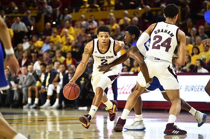 Rob Edwards led Arizona State with 23 points on Thursday night in a 90-49 rout of Central Connecticut State. (Photo courtesy of Sun Devil Athletics)