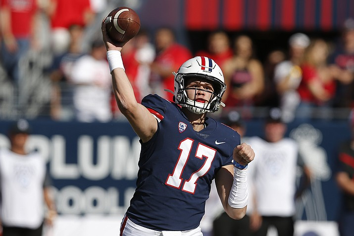 Arizona quarterback Grant Gunnell (17) throws the ball down field against Oregon State in the first half during a game, Saturday, Nov. 2, 2019, in Tucson, Ariz. (Rick Scuteri/AP)