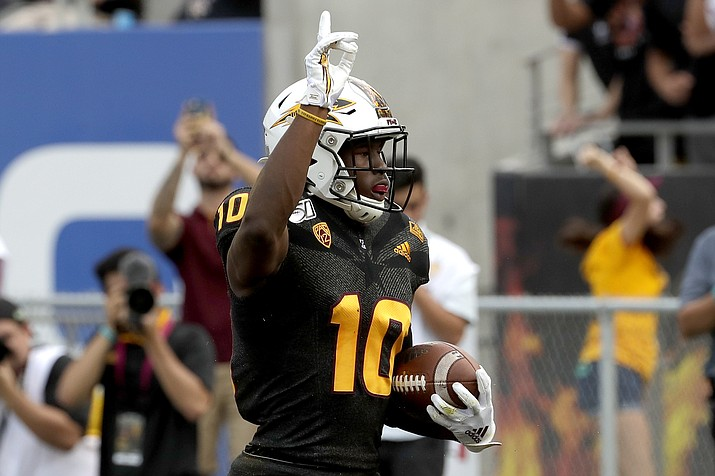 Arizona State wide receiver Kyle Williams (10) celebrates his touchdown against Southern California during the first half of a game, Saturday, Nov. 9, 2019, in Tempe. (Matt York/AP)