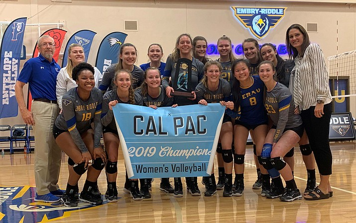 Embry-Riddle volleyball poses for a photo after defeating UC Merced 3-0 in the Cal Pac Championship final on Saturday, Nov. 16, 2019, at Embry-Riddle. This is the Eagles' third consecutive Cal Pac title. (Jake Whitaker/For the Courier)