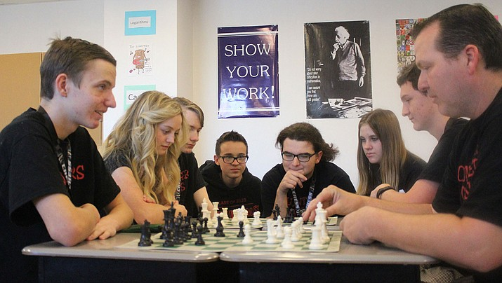 The Lee Williams High School chess team gathers for practice after tying for fourth at the State Team Chess Championships in Tempe. (Photo by Beau Bearden/Daily Miner)