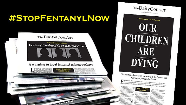 On Nov. 18, 2018 The Daily Courier kicked off our #StopFentanylNow campaign. The newspaper donated $10,000 to Yavapai Silent Witness specifically earmarked to help take fentanyl dealers and their drugs off Prescott area streets. If you know of a dealer selling fentanyl-laced drugs in our community, call Yavapai Silent Witness at 1-800-932-3232. You never have to give your name.
