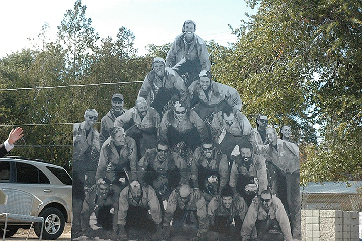 The Granite Mountain Hotshots Centerpiece is unveiled at the Yarnell Hill Fire Memorial Park Saturday, Nov. 16. (Jason Wheeler/Courier)
