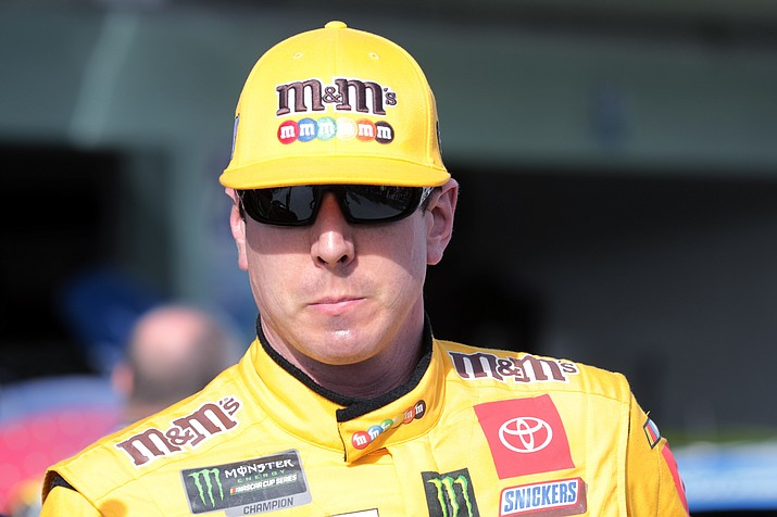 Kyle Busch leaves the garage after a NASCAR Cup Series practice at Homestead-Miami Speedway in Homestead, Fla., Saturday, Nov. 16, 2019. (Luis M. Alvarez/AP)
