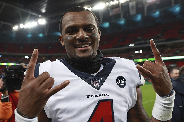 Houston Texans quarterback Deshaun Watson (4) celebrates after a game against the Jacksonville Jaguars at Wembley Stadium, Sunday, Nov. 3, 2019, in London. The Houston Texans won 26-3. (Ian Walton/AP)