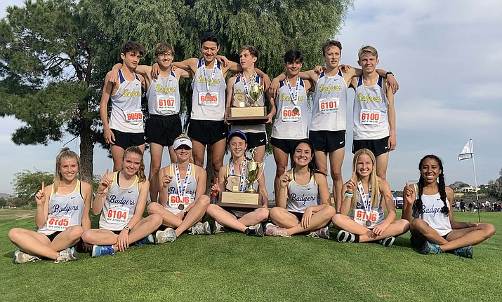 Prescott cross-country poses for a team photo after the girls took first and the boys took second at the Division III State Championship meet on Saturday, Nov. 16, 2019, at Cave Creek Golf Course in Phoenix. (Cylinda Bray/Courtesy)
