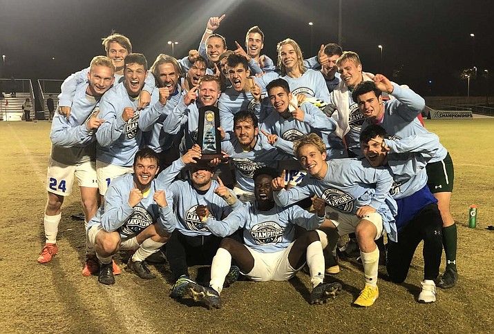 Embry-Riddle men's soccer celebrates after defeating Marymount 5-2 in the Cal Pac Championship final on Saturday, Nov. 16, 2019, in Merced, Calif. (Cal Pac conference, Twitter/Courtesy)