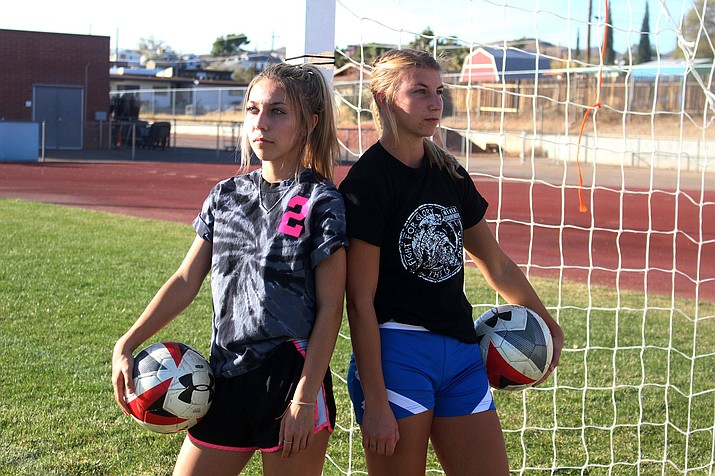Lee Williams seniors Natalie Sanchez, left, and Kendra Pease will be captains during the 2019-20 campaign. The Lady Vols open the season at 6 p.m. Monday, Nov. 25 at Lake Havasu. (Photo by Beau Bearden/Daily Miner)