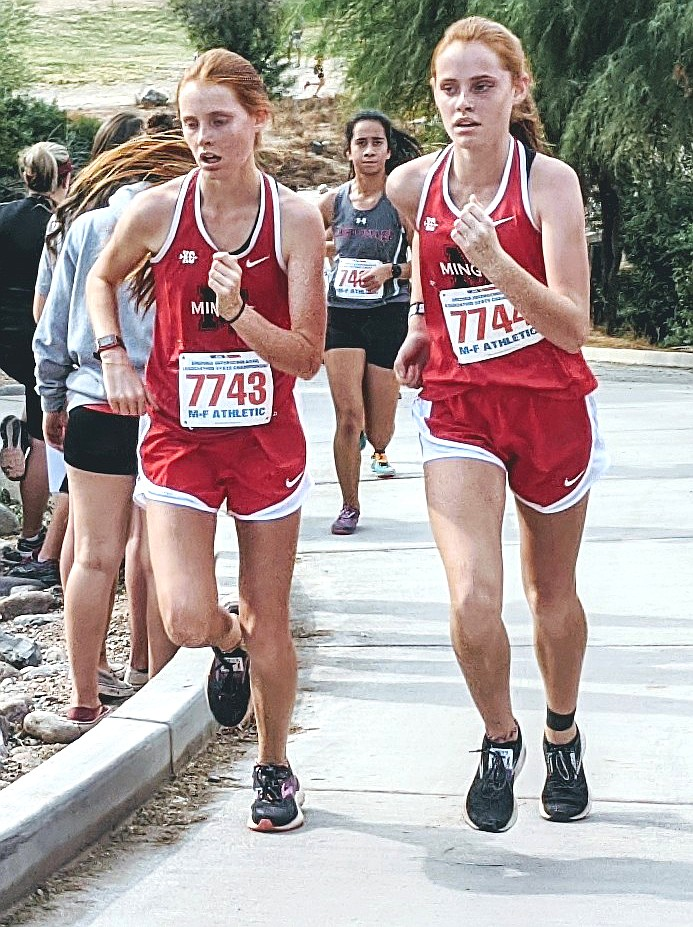Sophomore twins Claire and Aubrey Peterson finished in the 56-57th spots, respectively, in 21:55 and 21:57, at Saturday's Division 3 state cross country championship race. As a team, the Mingus girls finished 9th in the state. VVN/Dan Engler