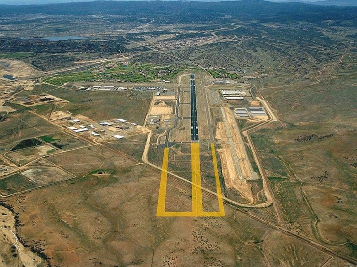 A study that will launch the process for possible extension of the Prescott Regional Airport's runway got City Council approval on Nov. 12. While the exact length is still to be determined, the proposal is for extending the 7,619-foot runway to about 10,000 feet. (City of Prescott/Courtesy rendering)