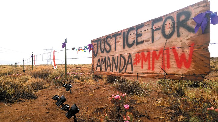The Missing and Murdered Diné Relatives working group is bringing hope to families across the Navajo Nation like the family of Amanda Webster, who  was murdered in Kentucky Dec. 1, 2018. Above: a memorial for Amanda Webster on Highway 89 outside of Cameron, Arizona, where she was from. (Kevin Moriarty/NHO)