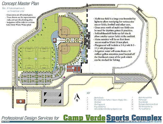 Jan. 15 is the deadline for bids on Phase 1B on the Camp Verde Sports Complex. The complex is located east of the Verde Ranger Station on SR 260. (Concept art courtesy of Verde Independent)