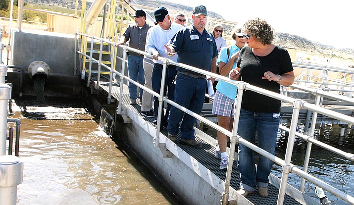 Camp Verde Town Council members tour the town's wastewater plant in 2017. Wednesday, council and town staff  will discuss a different way to charge its residential wastewater customers. VVN/Bill Helm