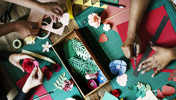 Work on crafts at Crafternoon, Nov. 21