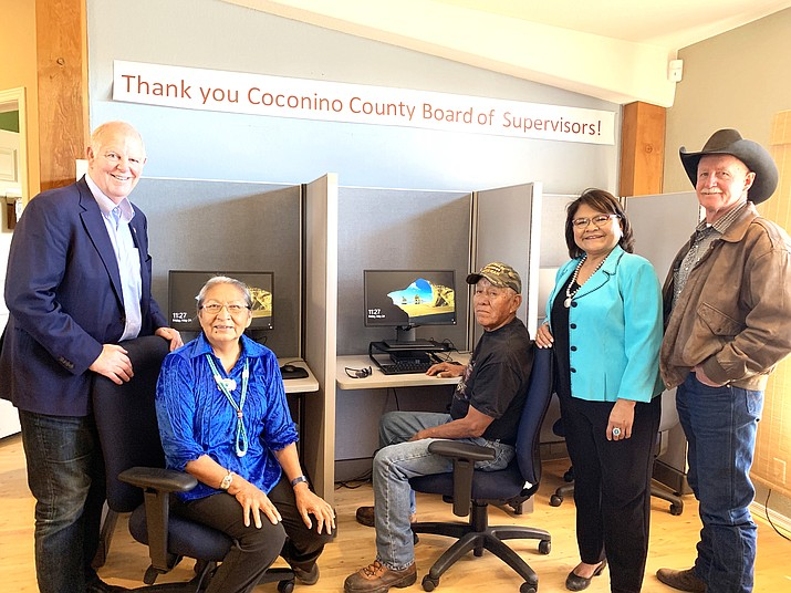 The Coconino County Board of Supervisors purchased five new computers complete with internet access, a printer, scanner and furniture as donations for veterans use at the Navajo Nation Veterans Administration office in Tuba City, Arizona. The Veterans Computer Center was officially opened in May 2019. From left: U.S. Congressman Tom O'Halleran, Lenora Hatathlie, U.S. Army veteran; Lorenzo Morez, U.S. Army veteran; Lena Fowler, Coconino County Supervisor District 5; and Jim Parks, Coconino County Supervisor District 4. (Submitted photo)