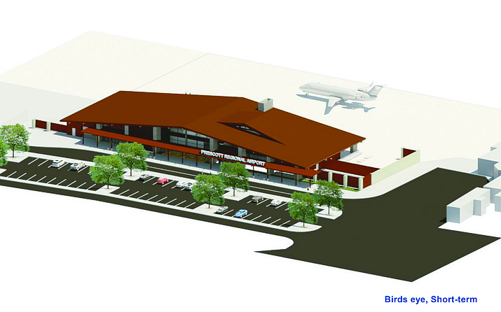 This artist's rendering shows the planned new terminal at Prescott Regional Airport. Mayor Greg Mengarelli announced on Tuesday that the airport terminal project had been confirmed for an FAA grant. (Courtesy/City of Prescott)