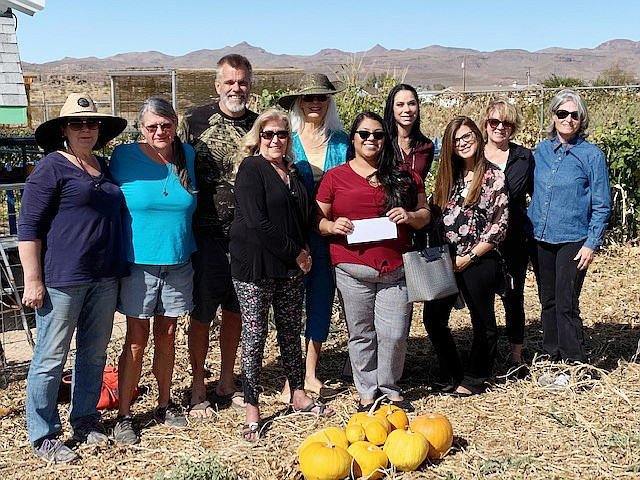 Wells Fargo employees present a check for $438 to members of the Dig It Kingman Community Garden. From left are Nancy Christler, Teresa Faatz, Jon Mayberry, Sandy Carpenter, Gail Glasier, Raven Vasquez, Marguerite Bainbridge, Devann Mullen, Bobbi Benton and Denise Neath. (Courtesy photo)