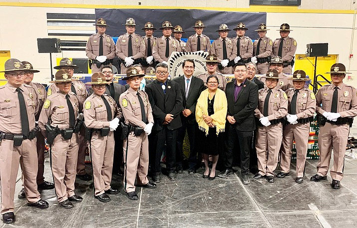 Navajo Nation President Jonathan Nez honored Police Training Academy Class 54 Nov. 1 in Chinle, Arizona. (Photo courtesy of the Office of the President and Vice President)