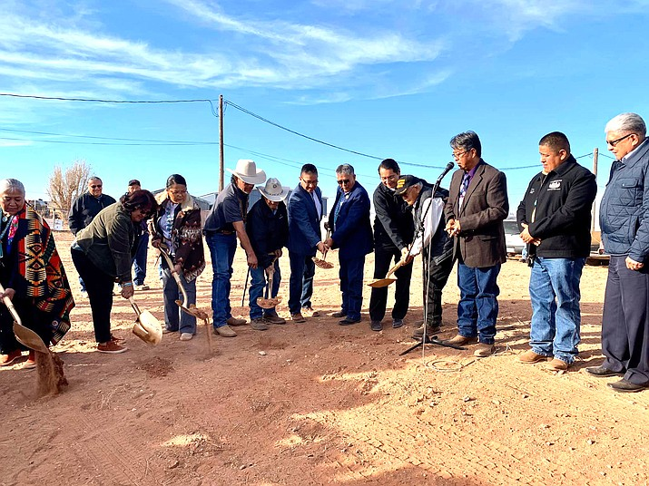 Navajo Nation President Jonathan Nez (right) and Vice President Myron Lizer (left) celebrated with more than 2,000 Tonalea residents during the ground breaking of a new chapter house Nov. 9. (Photo/Office of the President and Vice President)