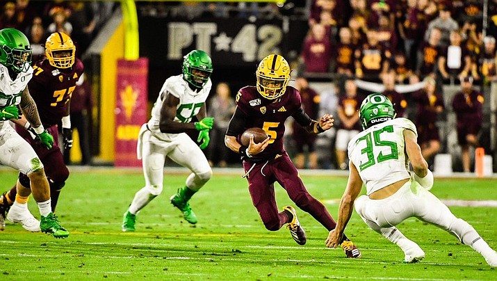 Jayden Daniels completed 22-of-32 passes for 408 yards and three touchdowns in Arizona State's 31-28 upset of No. 6 Oregon on Saturday night in Tempe. (Photo courtesy of Sun Devil Athletics)