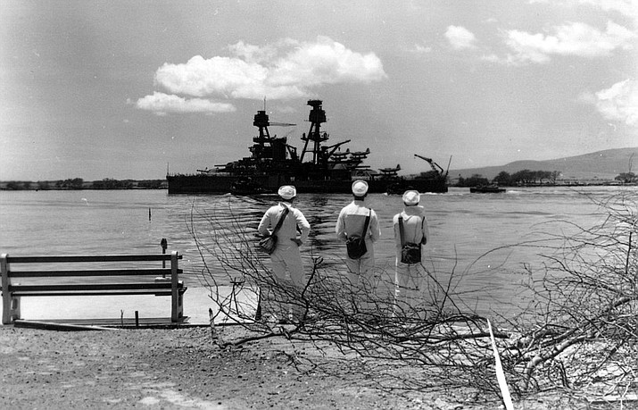 Photograph taken April 19, 1942 as a repaired ship was leaving Pearl Harbor for a trial run. (U.S. Navy)