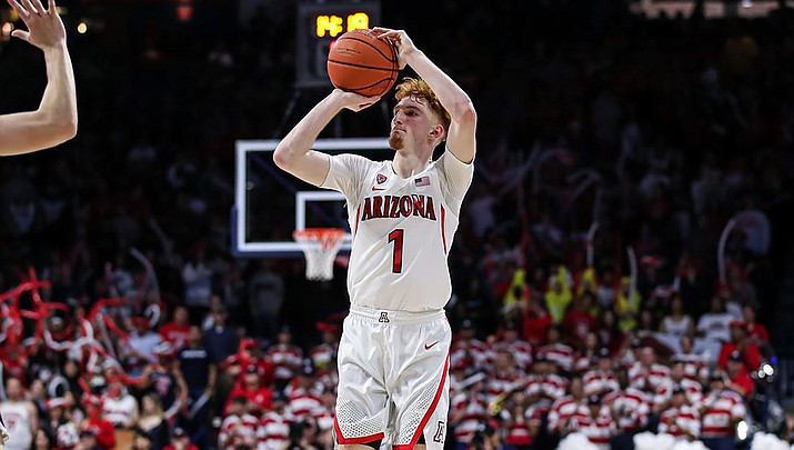 Nico Mannion scored 22 points Sunday night to help lead the Wildcats to a 104-67 win over Long Beach State. Arizona plays Pepperdine on Thursday. (Photo courtesy of Mike Christy/Arizona Athletics)